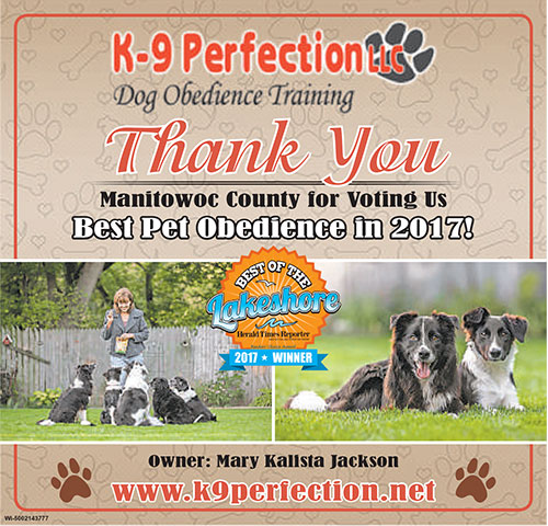 K-9 Perfection voted best of Manitowoc County 2017